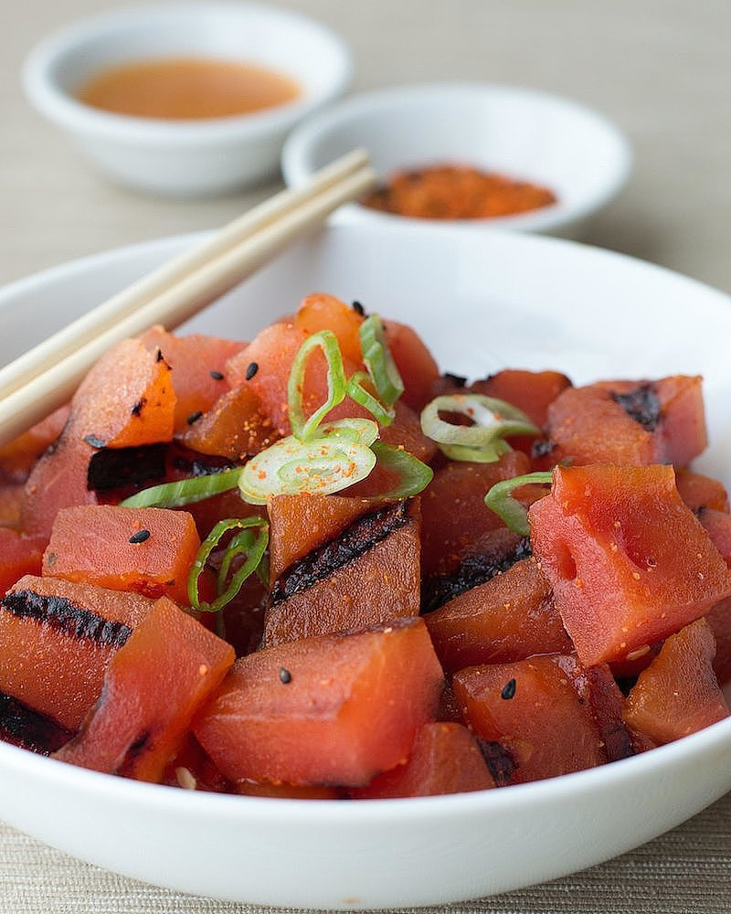 Grilled Watermelon Poke With Sesame Soy Vinaigrette