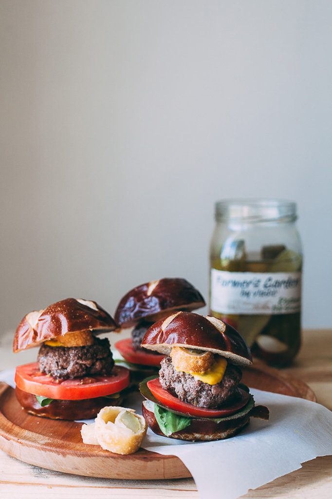 Cheesy Pickle Pretzel Sliders