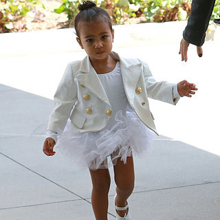 North West Wearing Balmain Blazer and White Tutu