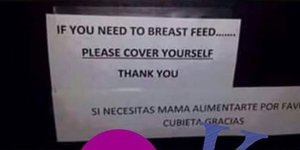 Sign Told Breastfeeding Moms To Cover Themselves, So They Literally Did