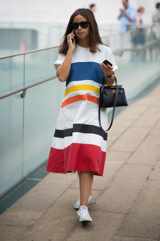 in a Bold Striped Dress