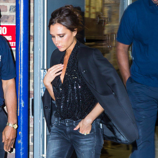 Victoria Beckham Wearing a Sequined Top and Jeans