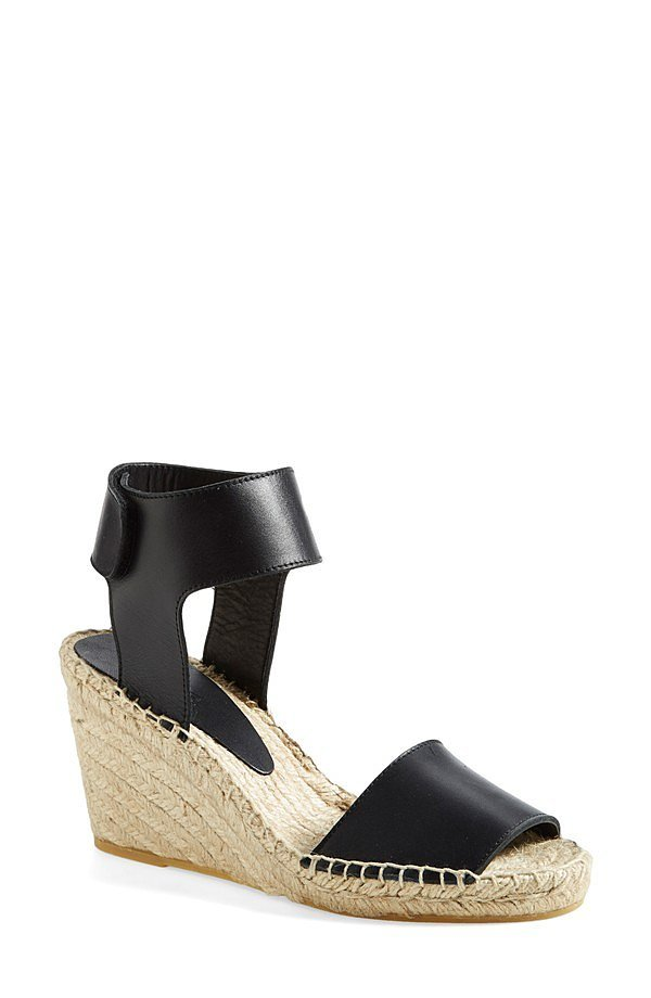 Vince Leather Espadrille Wedge Sandals
