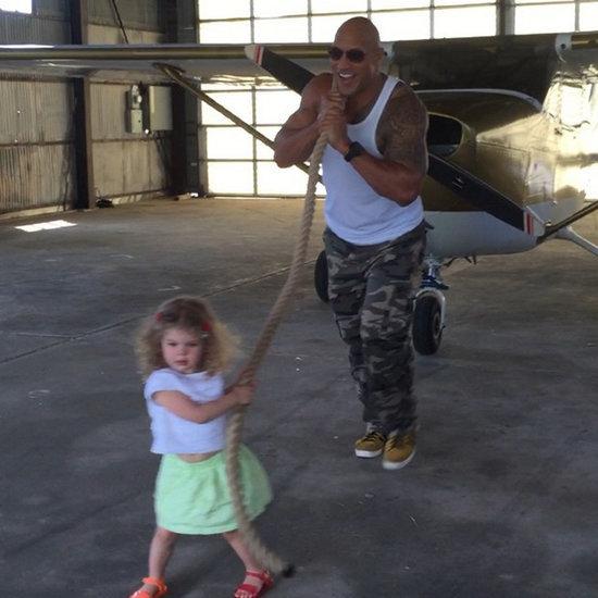 "Dwayne ""The Rock"" Johnson Helps Little Girl Pull Airplane"