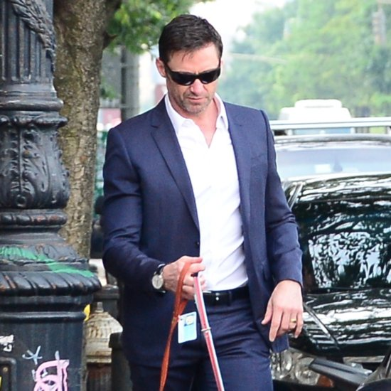 Hugh Jackman Walking His Dogs in a Suit in NYC