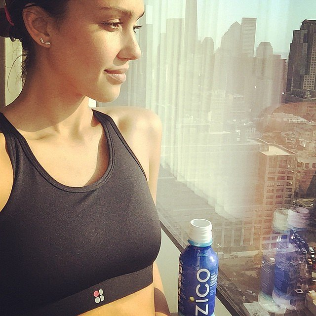 Jessica Alba stayed hydrated with Zico coconut water after a workout.