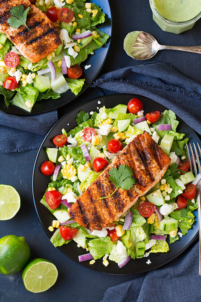 Mexican Grilled Salmon Salad With Avocado Greek Yogurt Ranch Dressing