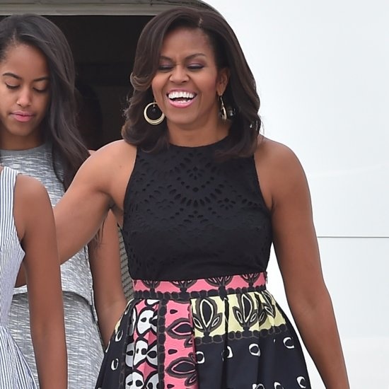 Michelle Obama Wearing Multicolor Printed Skirt