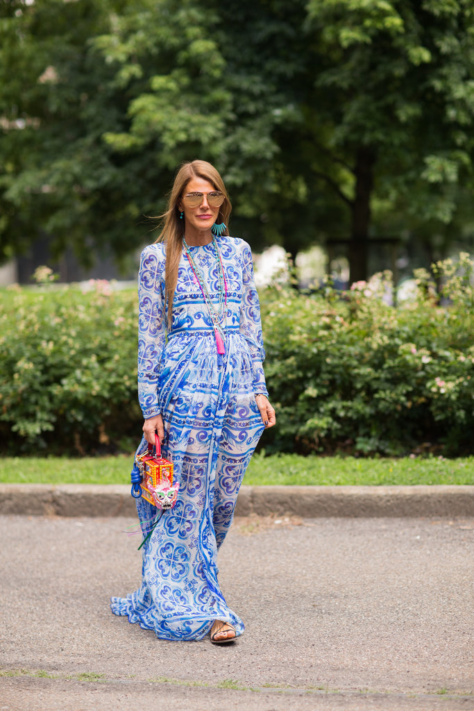 Anna Dello Russo's breezy maxi is perfect for surviving balmy weather.