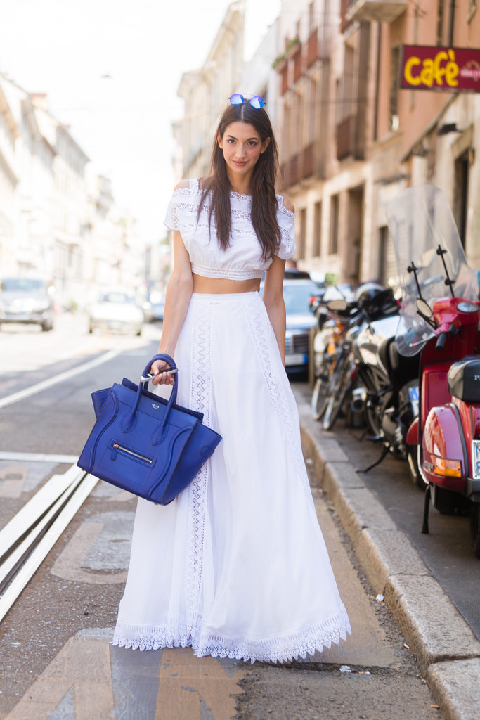 A tummy-baring crop top helped balance out the volume of a full maxi skirt.