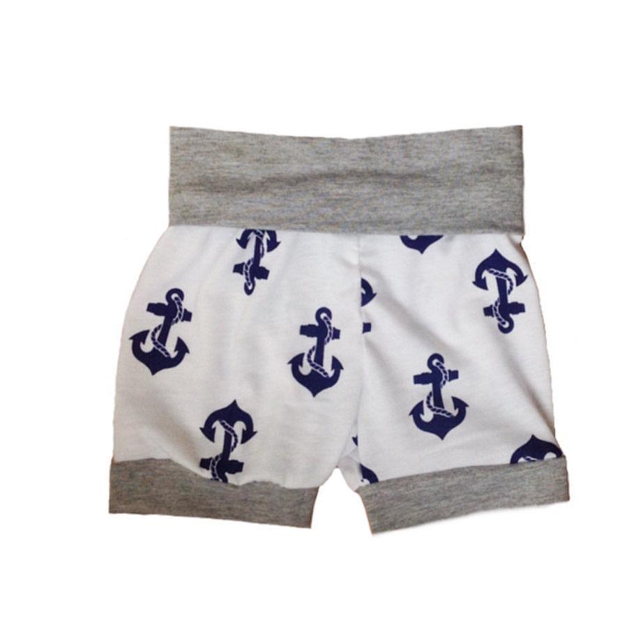 Blue Anchors Cuff Shorts