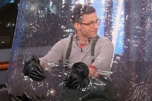 "Andy Samberg Went On ""Kimmel"" In A Bubble Boy Costume Last Night"