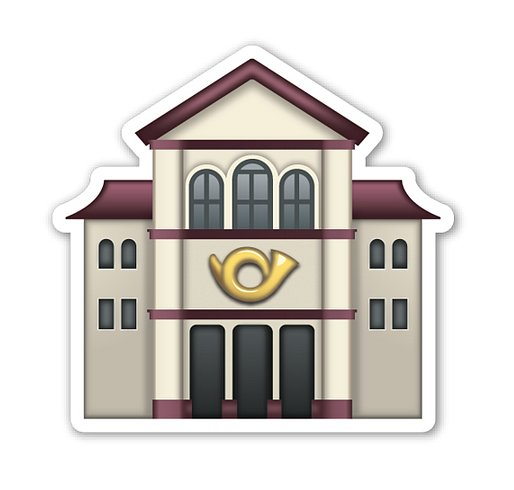 "Interpretation: ""Music hall."" Name + meaning: European Post Office. A European-style post office. In the Apple artwork, a Postal Horn can be seen on the front. Also known as: Post office emoji"