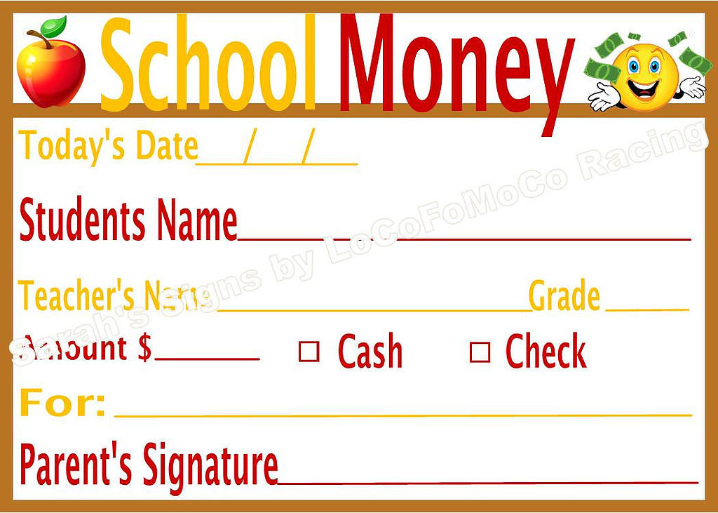 School Money Labels