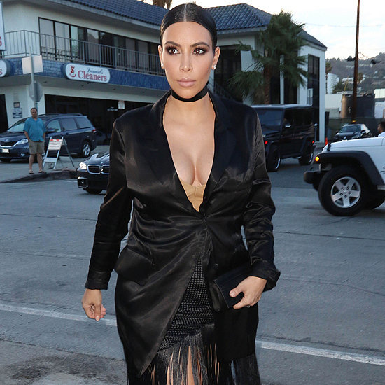 Kim Kardashian Wearing Black Fringe Skirt and Choker