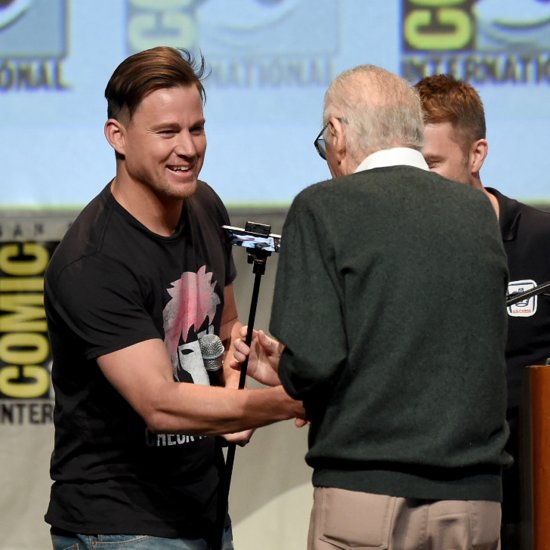 Channing Tatum Helps Stan Lee Off Stage at Comic-Con
