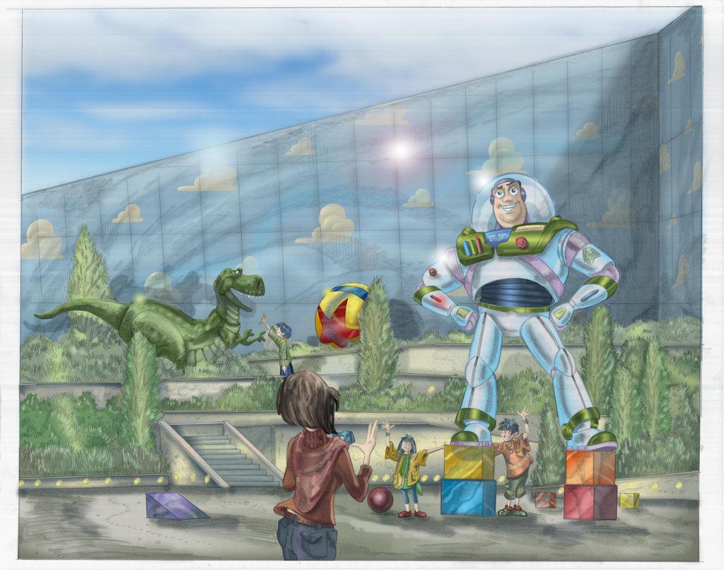 玩具總動員酒店的巴斯光年庭院渲染
