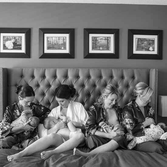 Photo of Bride and Bridesmaids Breastfeeding Together