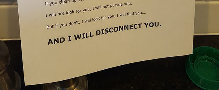 This Dad's Taken-Style Note Will Make Every Kid Think Twice Before Leaving Dirty Dishes in the Sink