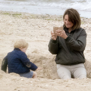 Prince George and Carole Middleton on the Beach