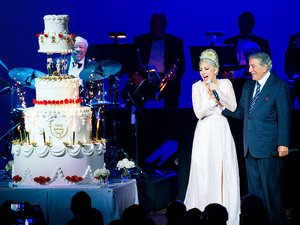 Lady Gaga Surprises Tony Bennett Onstage with a Massive Cake for His 89th Birthday