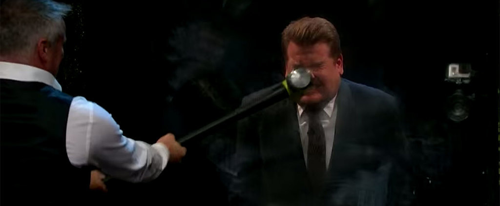 Matt LeBlanc Swings a Sledgehammer at James Corden's Face to Try and Make Him Flinch