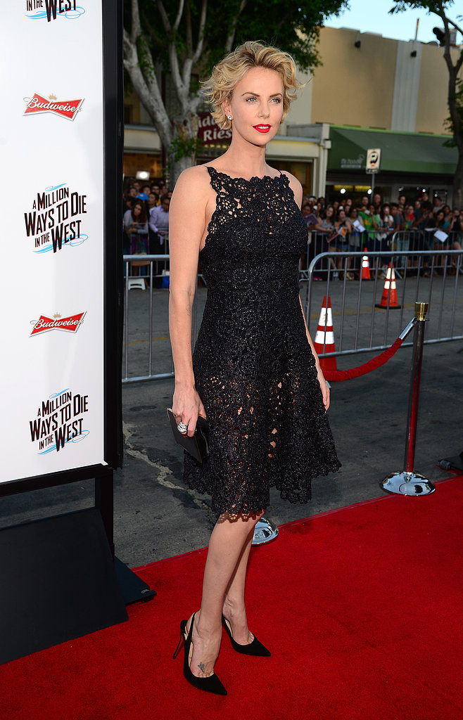 At the premiere of A Million Ways To Die In The West, Charlize smouldered in a sheer, black lace dress.