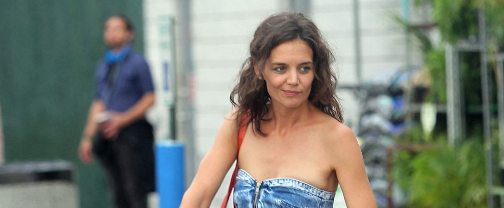 Katie Holmes Went Grocery Shopping in the Tiniest Denim Dress We've Ever Seen