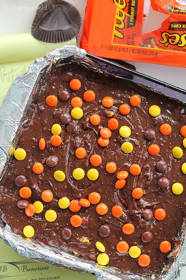 Reese's Stuffed Pretzel Brownies