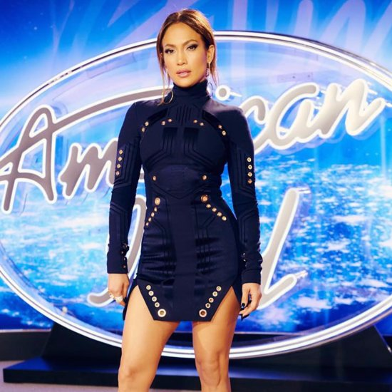 J Lo Flaunts Her Toned Legs in a Minidress While Promoting American Idol