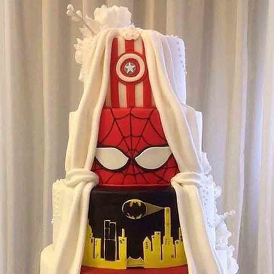 Two-Sided Marvel Wedding Cake