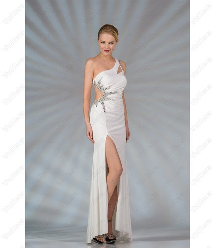 White One Shoulder Long Prom Dress - Vuhera.com