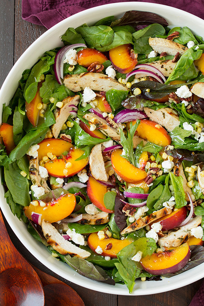 Peach Salad With Grilled Basil Chicken and Balsamic Vinaigrette