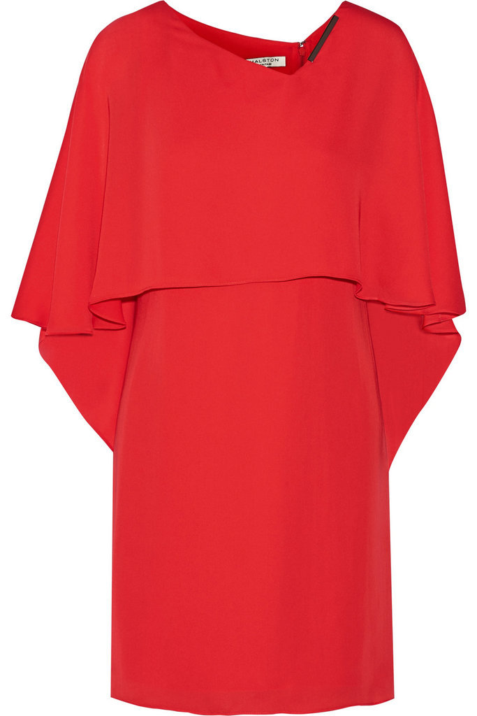 Halston Cape-Back Georgette Mini Dress ($395)