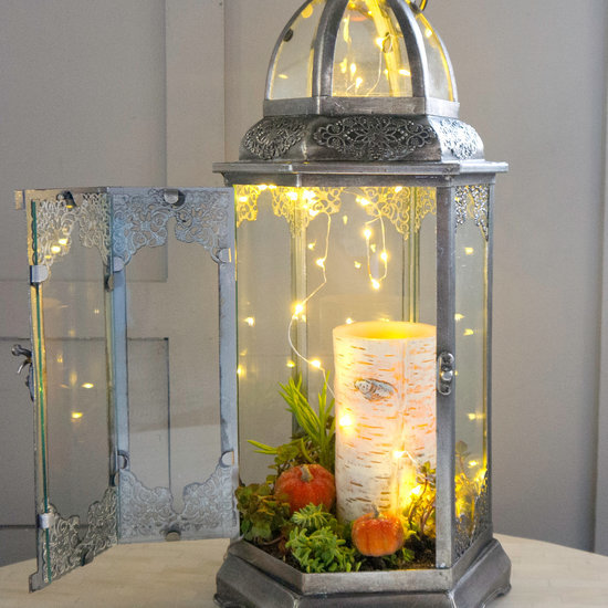 Turn a Glass Candle Holder Into a Sparkling Fall Terrarium