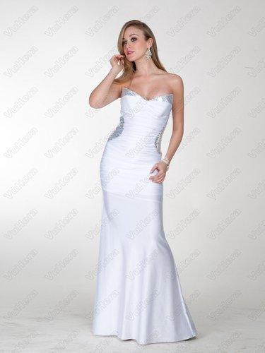 White Strapless Sequins Long Evening Dress - Vuhera.com