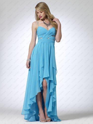 Turquoise Illusion Hi-Low Hem Gown - Vuhera.com