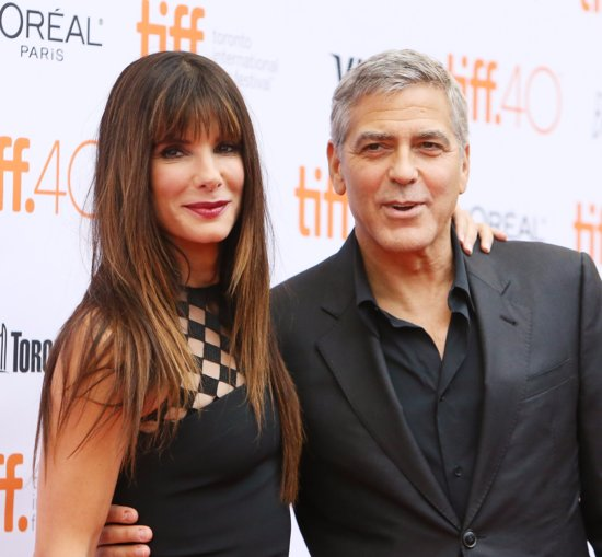 Sandra Bullock and George Clooney at the TIFF 2015