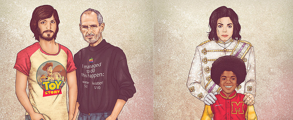 These Illustrations of Celebs With Their Younger Selves Are Incredible
