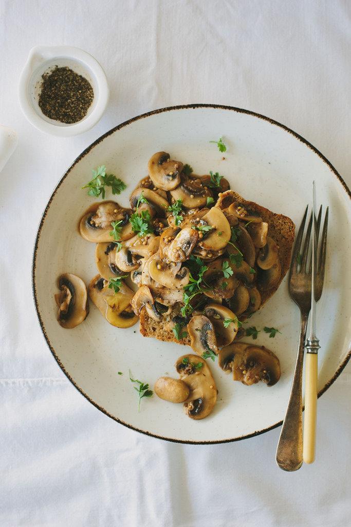 Mustardy Mushrooms on Toast