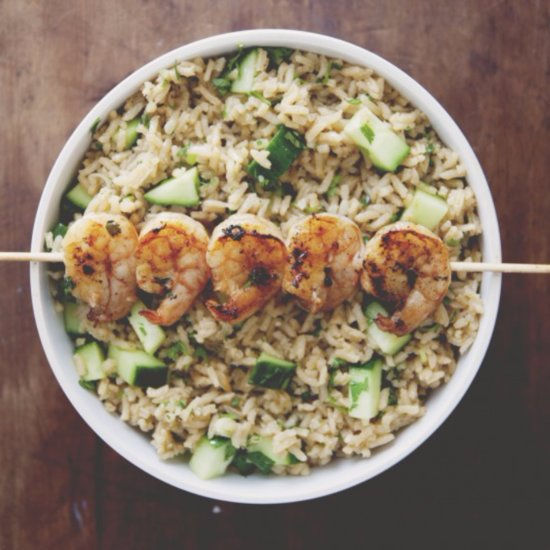 Spicy Grilled Shrimp With Cucumber Cilantro Rice Recipe