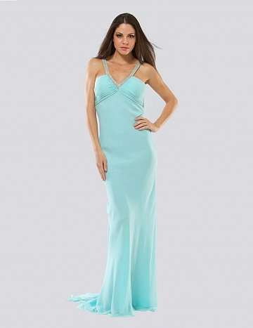 Sheath Column V-neck Sleeveless Floor-length Chiffon Evening Dress - Vuhera.com