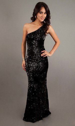 sexy sequin long black mermaid one shoulder prom dress - Vuhera.com