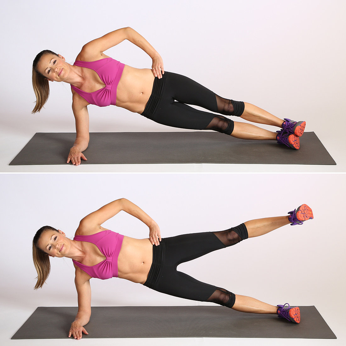 This variation of plank called side plank leg lift targets your