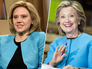 SNL: Kate McKinnon's Faux Hillary Jokes with the Real Clinton About Not Supporting Gay Marriage Sooner