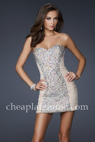 Strapless Beaded Short Nude Party Dresses La Femme 16368