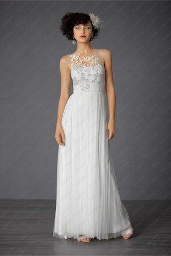 Tulle Sheer Neckline Structured Bodice Wedding Dress - Vuhera.com