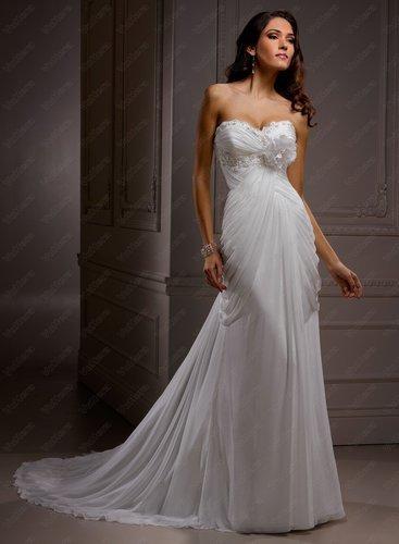 Tomen Chiffon Sweetheart Neckline Sheath Wedding Dress - Vuhera.com