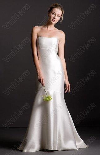 Shantung Strapless Empire Bodice Sheath Wedding Dress - Vuhera.com
