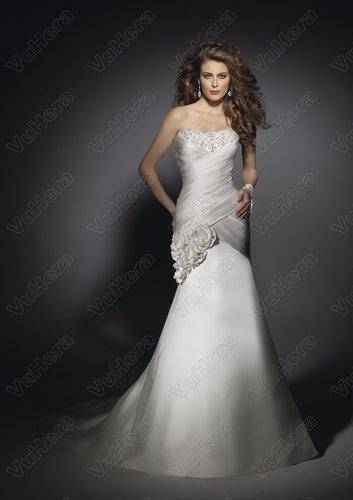 Shantung Strapless Embroidered Bodice Sheath Wedding Dress - Vuhera.com